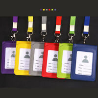 Leather Pocket Wallet Business ID Badge Card Credit Holder Neck Strap Lanyard