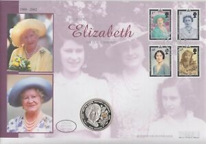 2002 Silver Proof £5 Crown First Day Coin Cover Queen Mother FDC SCARCE 25/4/02