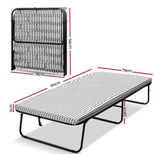 Single Folding Bed w/ Mattress Camping Stretcher Foldable Frame Guest Portable