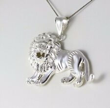 Mens Large Sterling Silver Lion Pendant for Chain Large and Bold