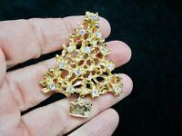 Vintage Gold Tone Rhinestone Xmas Tree Brooch/Pin