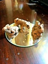S/3 Vtge Handmade Clay Small Animal Figures, Incense Holder, Pig Squirrel & Frog