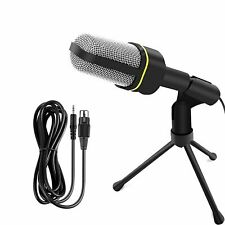 3.5mm Professional Microphone Condenser Mic Audio Recording PC With Tripod Stand