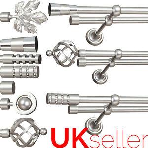 Metal Double Curtain Pole / Rod Set 16mm Satin Chrome, Classic Bracket, Bedroom