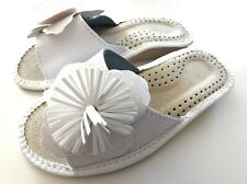 100% Leather Women Handmade Open Toes House Slippers Size 7 8 9 White