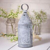 BAKER'S new weathered zinc finish punched tin candle lantern