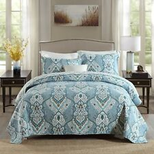 100% Cotton Reversible  Quilted Bedspread/Coverlet Queen Size  3pcs Set 1576