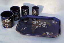 Ancien ensemble Fumeur: plateau + 4 pots KG Lunéville - Plumes/fleurs émaillées