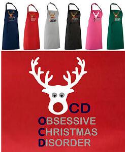 NEW FUNNY, OBSESSIVE CHRISTMAS DISORDER / OCD APRON!  RED GLITTER REINDEER NOSE