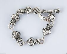 King Baby Studio Sterling Silver Day of the Dead Crowned Heart Link Bracelet