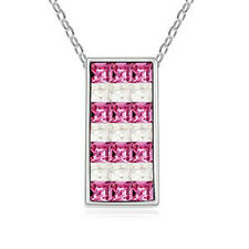 18K Gold GP Made With Swarovski Crystal Elements Pink White Square necklace