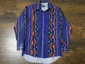 Vintage Wrangler Western Shirt Button Up Pearl Snap Size Medium Long Sleeve