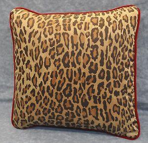 Velvet Corded Pillow made w Ralph Lauren Venetian Leopard Animal Print Fabric