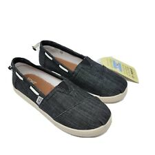 TOMS Jeunesse Bimini Noir Chambray à Enfiler Chaussures Taille 3 10007503 Garçon