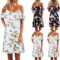 ❤️ Womens Boho Floral Off Shoulder Short Mini Dress Ladies Summer Beach Sundress