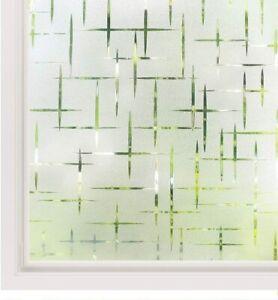 "Cross Patte No Glue Static Decorative Privacy Window Films for Glass 17.7""x78.7"""