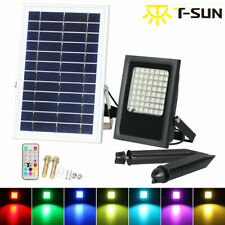 LED Solar Power RGB Colorful Flood Light Outdoor Waterproof Landscape Spot Light