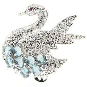 Fantastic Swan Shape London Blue Topaz Tourmaline CZ Silver Pendant