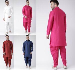 Dupion Silk Men's Dhoti Kurta Set Ethnic Traditional Marriage Party Wear Dress