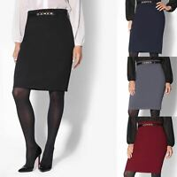Womens Ladies Pencil Skirt Midi Belted Formal Fitted Stretch Business Work Party