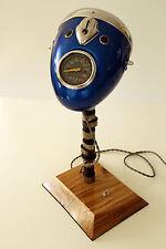 Vintage Desk Lamp From Motorcycle Headlight, Oak Base & Engine Shaft