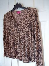 LIZ LANGE LADIES M. MATERNITY PULLOVER TOP BROWN/BEIGES BLOUSE MATERNITY SHIRT