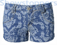 NEW Womens JACQUARD SHORTS STRETCH DENIM Ladies HOT PANTS Size 6 8 10 12 14