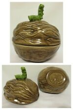 Vintage 70s Walnut Shaped Bowl With Caterpillar on Lid Nut Snack Teacher Gift