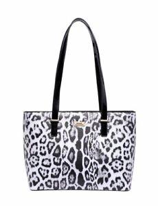 Serenade Snow Panthera Leather Tote Leopard Shoulder Handbag