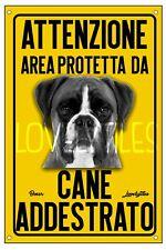 BOXER AREA PROTETTA TARGA ATTENTI AL CANE CARTELLO PVC GIALLO
