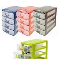Plastic 4 Drawer Storage Unit Office Bedroom Kitchen Organizer Black Blue Red UK