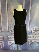 Calvin Klein Black Crepe Suiting Career Dress SZ 8P Scoop Neck Belted Sleeveless
