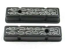 1958-86 Chevy 350 Aluminum Tall Flame Valve Cover w/ Hole Black BPE-2003B
