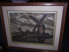 Antique Engraving  color etching Windmills original Radioung signed