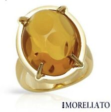 New MORELLATO Simulated Amber Gemstone/Gold Ring Sz 8 Made In Italy $130!!
