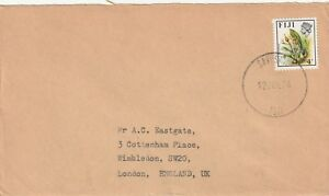 1974 Fiji cover with stamp S308 from SavuSavu to London UK