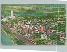 Baton Rouge Louisiana~Air View of City & River~Vintage Postcard