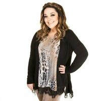 Just Be You Fine Knit Cardigan with Lace Trim grey oatmeal black rose