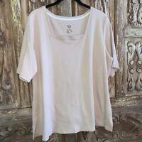 Isaac Mizrahi Live Women's Size 1X Top Short Sleeve Knit Plus Size QVC A353922