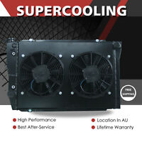 BLACK Aluminum Radiator &Fan Shroud For Ford Falcon XC XD XE XF V8 6Cyl AT 73-83
