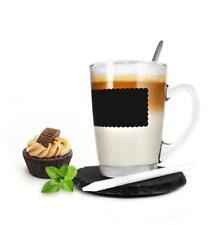 Kaffeeglas 4tlg mit Löffel und Teller Teeglas Tasse Becher Latte Macchiato Glas