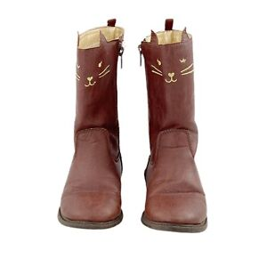Carter's Cat Riding Cowboy Boots Toddler Girl's Size 11 Brown Kitty Fashion Boot