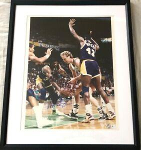 Larry Bird Magic Johnson autographed signed 16x20 photo FRAMED (33 hologram GAI)