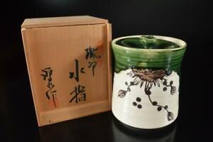 Z1133: Japan Oribe-ware Green glaze Mizusashi FRESH WATER POT, auto w/signed box