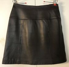Lord & Taylor 100% Leather Skirt Sz 12🌹A-Line 🌹Deep Brown Chocolate Skirt🌹