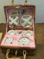 Delton Fine Collectable 14 Pc. Childrens Tea Set In Wicker Basket Missing Spoon