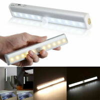 10 LED PIR Motion Sensor Night Light Strip Battery Operated Cabinet Closet Stair