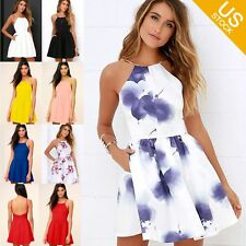 Women Casual Spaghetti Strap Sleeveless Floral Print Short A Line Mini Dress