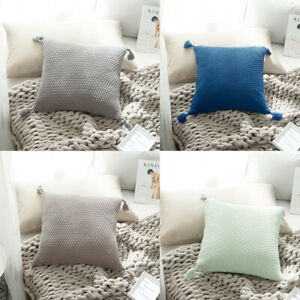Pom Pom Tassel Pillow Case Cotton Knitted Cushion Cover Sofa Bed Throw 45X45CM