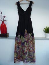 Ladies Lovely Atmosphere Black Mix Floral V Wrap Maxi Party Dress Size 8, Vgc
